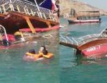 Tur teknesi battı, içindekiler son anda kurtarıldı