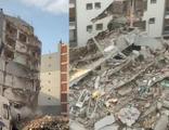 Ağır hasarlı bina yıkım esnasında böyle çöktü