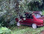 Freni boşalan otomobil 20 metreden uçtu!
