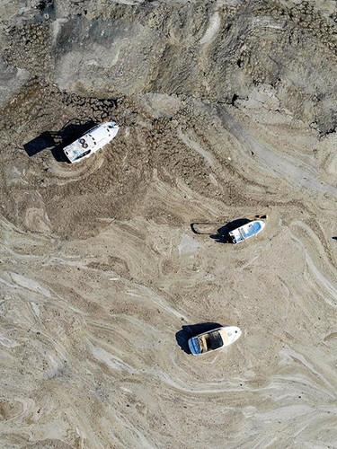 Marmara Denizi'nde müsilaj felaketinin son hali havadan görüntülendi
