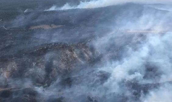 Çanakkale'deki yangın havadan böyle görüntülendi