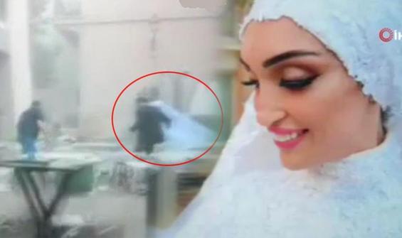 Beyrut'ta düğün fotoğrafı çektirirken patlamaya yakalandılar