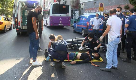 Beyoğlu'nda yaya otobüse çarptı