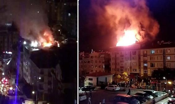 Ankara'da, bir apartmanın çatı katında yangın