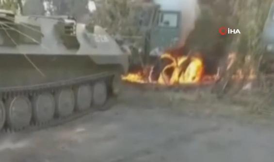 Askeri tatbikat sırasında kamyon alev aldı