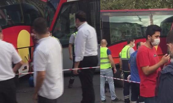 Laleli'de tramvay ile otobüs çarpıştı