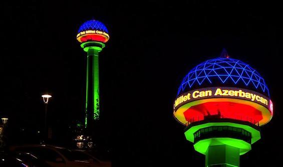 Atakule, Azerbaycan Bayrağı renkleriyle ışıklandırıldı