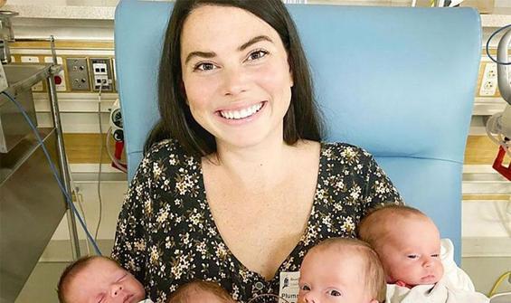 Dört kardeşi evlat edindikten sonra dördüz doğurdu