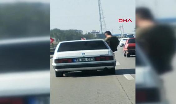 Trafikte tehlikeli hareketler kamerada