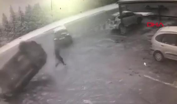 Aracın takla atması yayanın kurtuluşu oldu