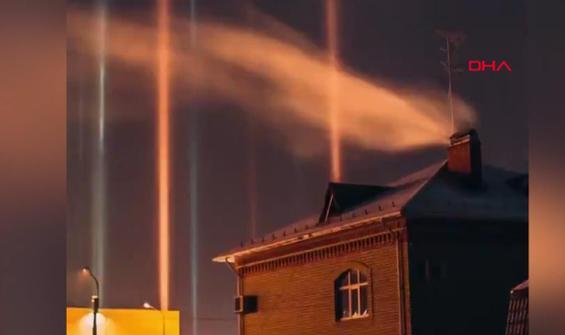 Eksi 20 derecede ortaya çıkan ışık sütunları, büyüledi