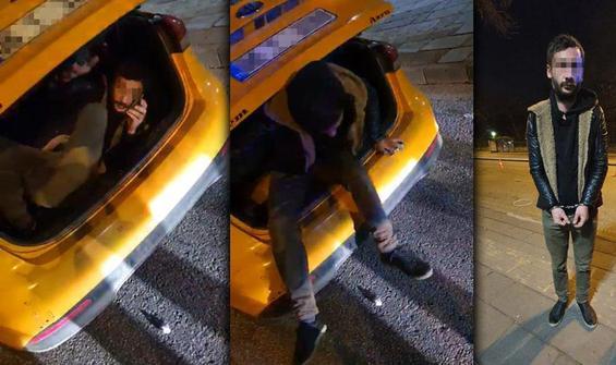 Yer Ankara... Taksinin bagajında yolculuk yaparken yakalandı