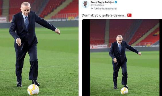 Erdoğan'dan 'Durmak yok gollere devam' paylaşımı
