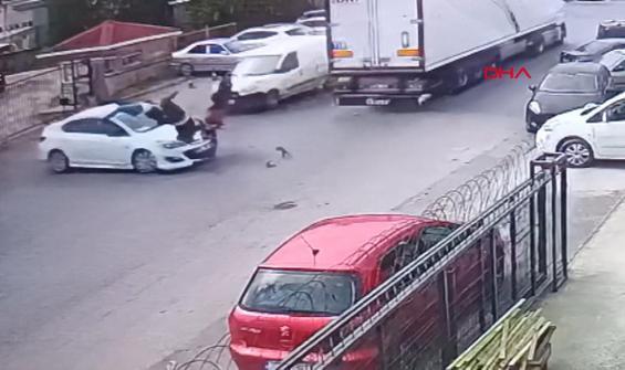 Çalıntı motosiklet ile korkunç kaza kamerada