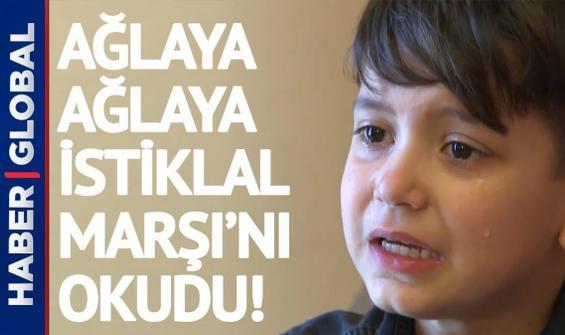 İzleyenleri de ağlattı! Ağlaya ağlaya İstiklal Marşı'nı böyle okudu!
