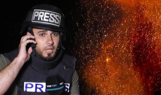 Gazze'de gazetecilerin yanına füze düştü!
