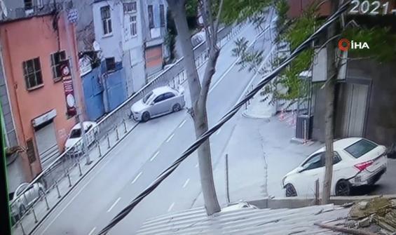 Emanet araçla bariyerlerden uçtu