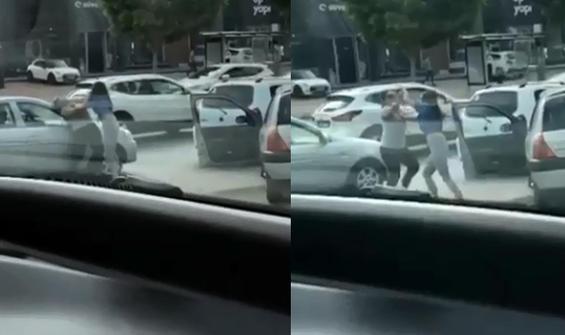 Kadın sürücülerin saç saça baş başa kavgası kamerada