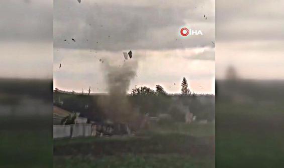 Ukrayna'da çıkan hortum kamerada