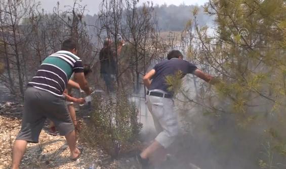 Orman yangınına pet şişelerle müdahale etmeye çalıştılar