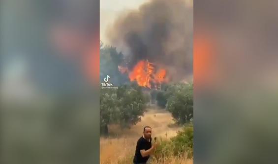 Yangın kozalak attı, vatandaşlar panikle böyle kaçıştı