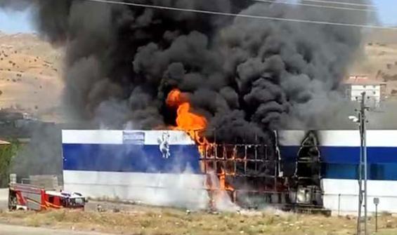 Yenimahalle'de ayran fabrikasında yangın