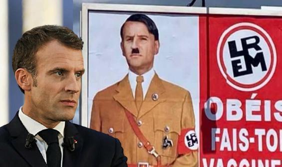 Macron'un Hitler'e benzetildiği afişi asana ceza!
