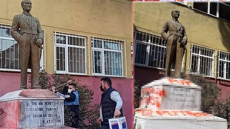 Atatürk heykeline saldırı... Bakan Soylu duyurdu