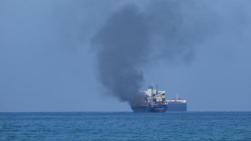 Konteyner yüklü gemide korkutan yangın!