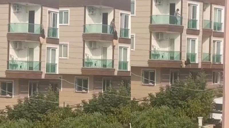 Çığlık atarak balkona çıktı, düşerek ağır yaralandı