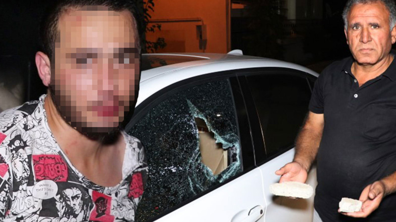 Otomobilleri taşa tuttu, yakalanıp polise teslim edildi