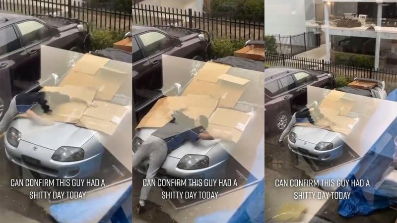 Arabasını doludan korumak için bedenini kullandı