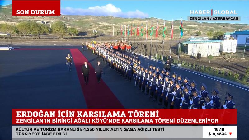Karabağ'ın ilk akıllı köyünde Erdoğan için karşılama töreni