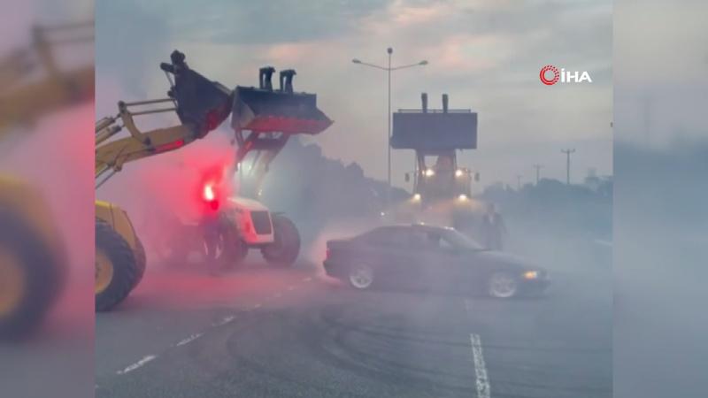 Yolu kapatan kepçeler ile drift paylaşımı cezasız kalmadı