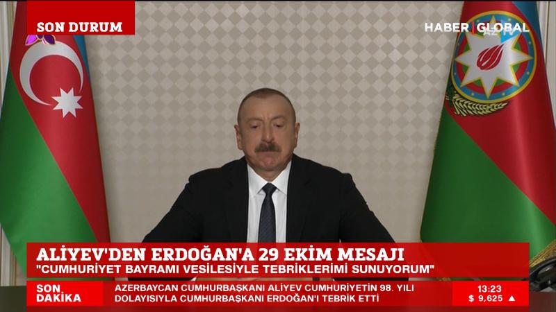 Aliyev'den Erdoğan'a 29 Ekim mesajı