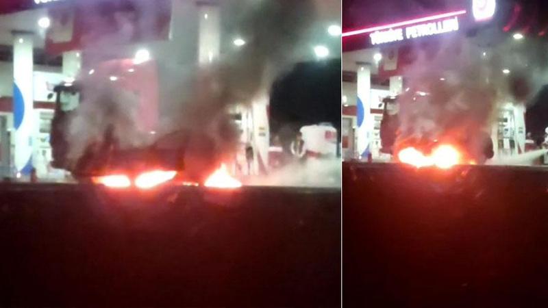 Akaryakıt istasyonunda otomobil alev alev yandı