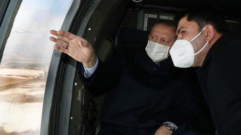 Erdoğan o konutları havadan inceledi