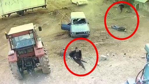 Arabayla ezip silahla saldırdılar! Dehşet anları kamerada