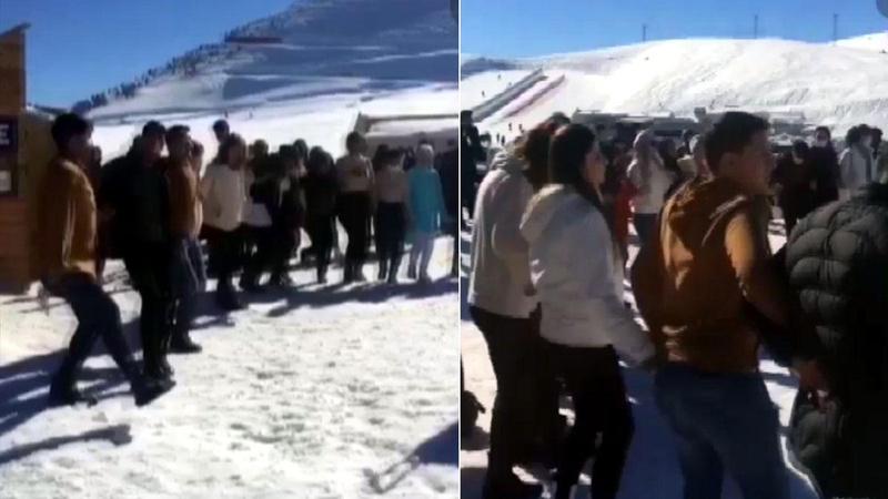 Kayak merkezinde tepki çeken görüntüler!