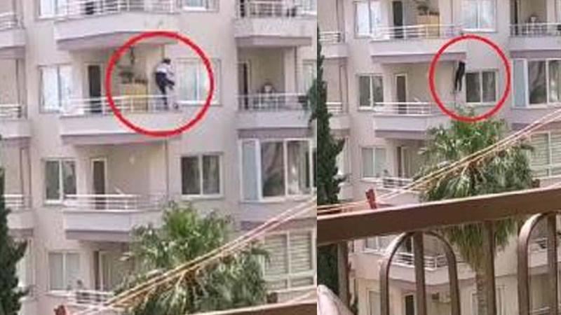 Polisi görünce balkondan balkona atladı!