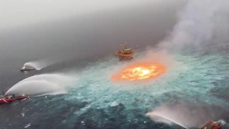 Meksika Körfezi yanıyor! Devasa ateş topu böyle görüntülendi