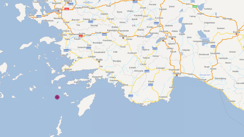 Datça açıklarında 4.6 büyüklüğünde deprem