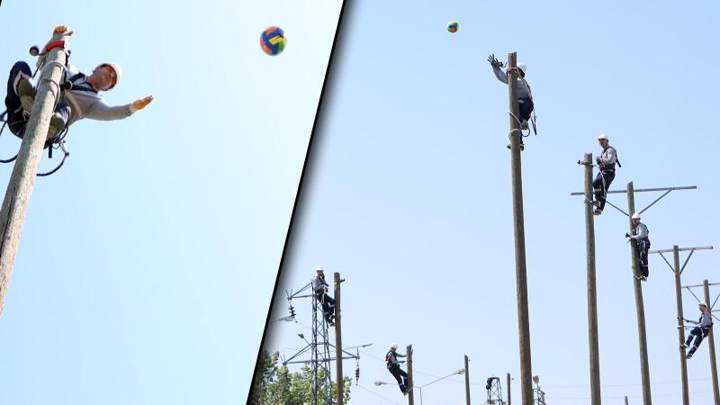 12 metre yükseklikteki voleybol maçıyla denge eğitimi