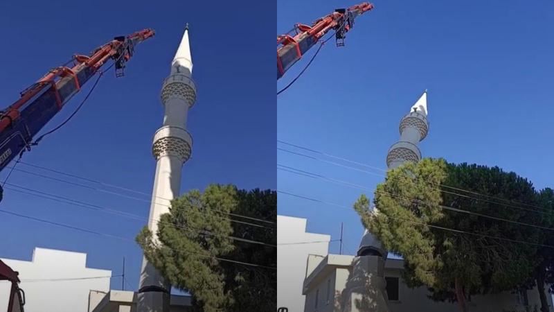 Cami minaresi böyle yıkıldı!
