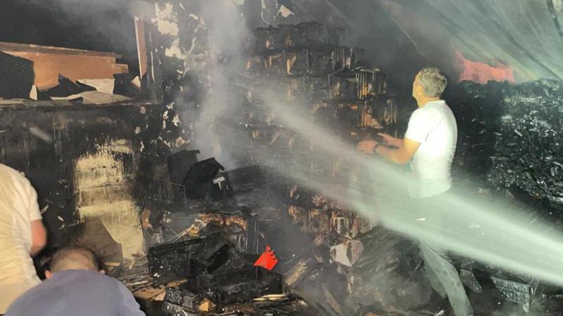 Nargile ve mangal kömürü imalathanesinde korkutan yangın