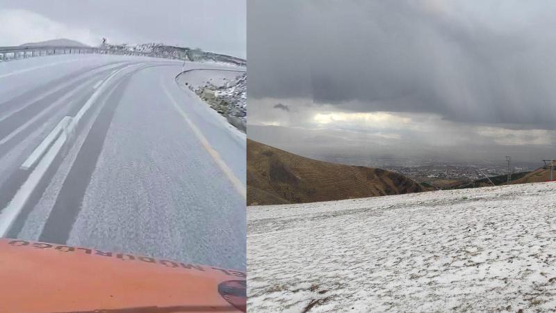 Şehre ilk kar düştü! Karayolları paylaştı...