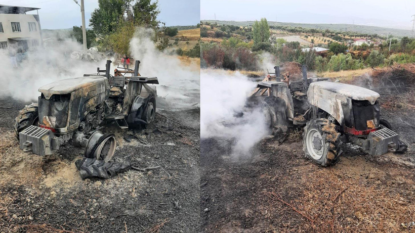 Ateş yakmak isterken traktörünü yaktı