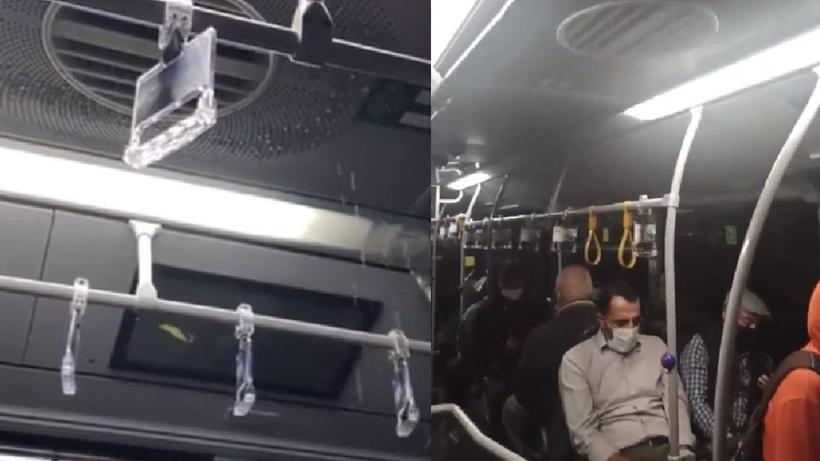 İstanbul'da etkili olan yağış nedeniyle metrobüsün tavanı aktı