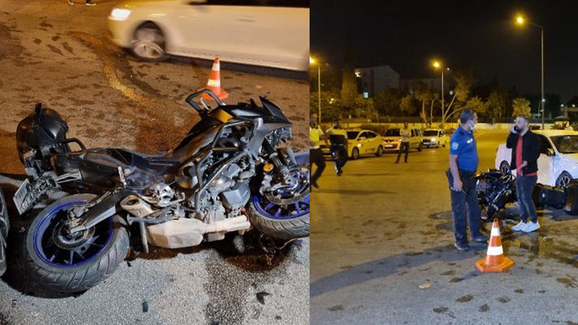 Adana'da motosikletli sivil polis ekibi ile otomobil çarpıştı