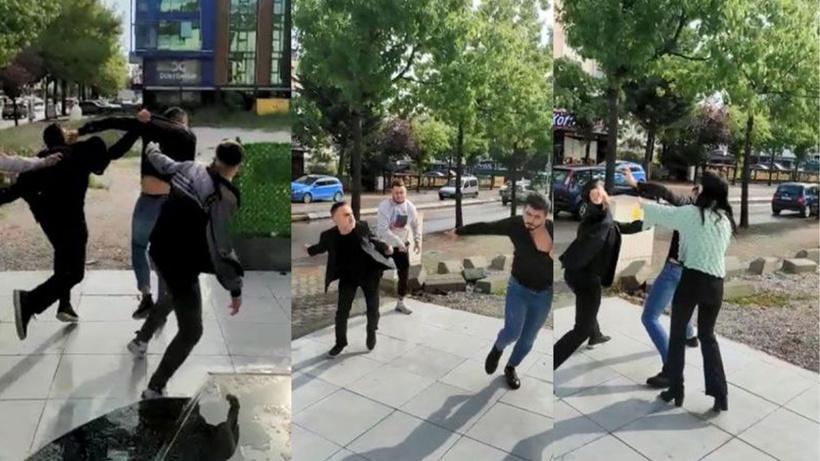 Sokak ortasında tekme tokat kavga! Ortaklar birbirine böyle girdi